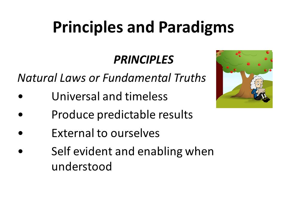 Principles and Paradigms PRINCIPLES Natural Laws or Fundamental Truths Universal and timeless Produce predictable results External to ourselves Self evident and enabling when understood