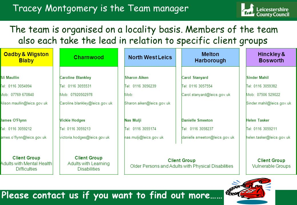 Tracey Montgomery is the Team manager The team is organised on a locality basis.