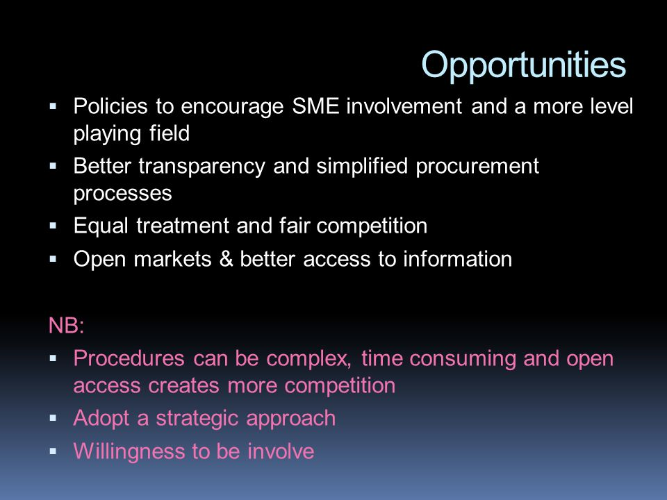 Opportunities Policies to encourage SME involvement and a more level playing field Better transparency and simplified procurement processes Equal treatment and fair competition Open markets & better access to information NB: Procedures can be complex, time consuming and open access creates more competition Adopt a strategic approach Willingness to be involve