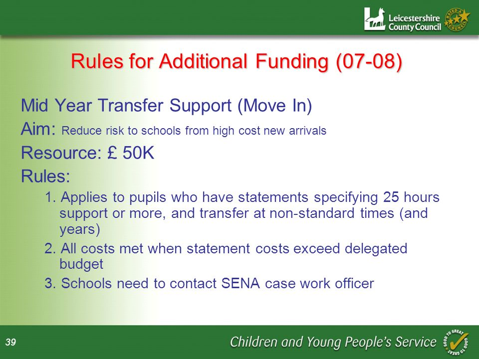 39 Rules for Additional Funding (07-08) Mid Year Transfer Support (Move In) Aim: Reduce risk to schools from high cost new arrivals Resource: £ 50K Rules: 1.