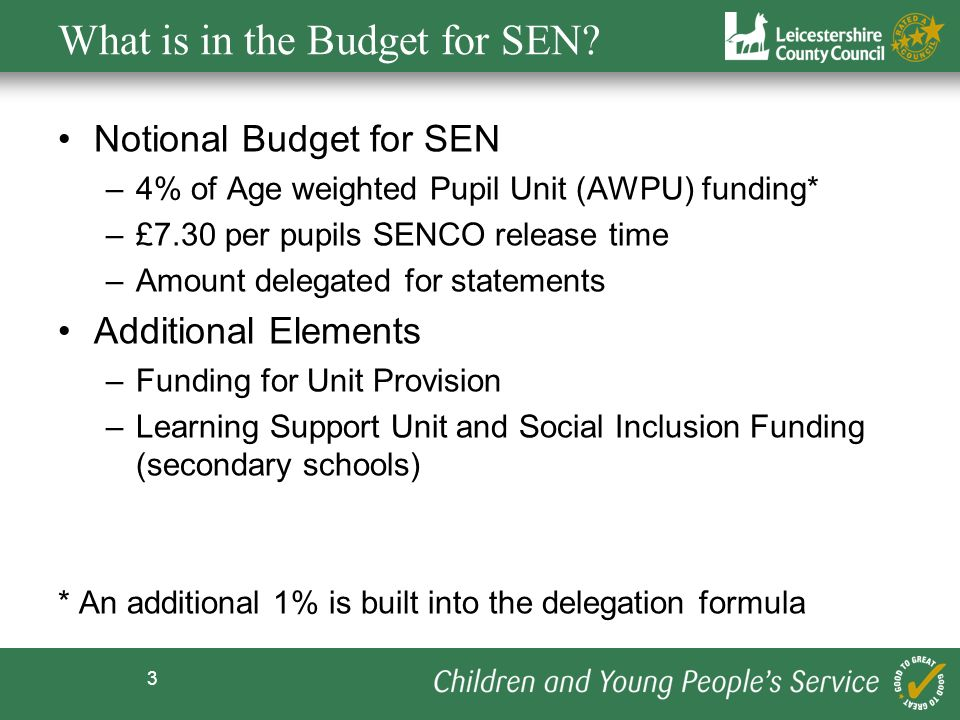 3 What is in the Budget for SEN.
