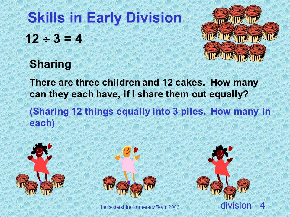 division Leicestershire Numeracy Team 2003 4 12 3 = 4 Sharing There are three children and 12 cakes. How many can they each have, if I share them out