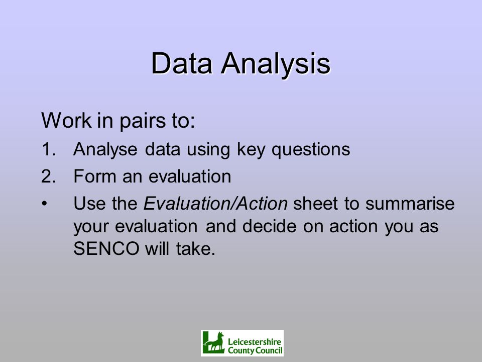 Data Analysis Work in pairs to: 1.Analyse data using key questions 2.Form an evaluation Use the Evaluation/Action sheet to summarise your evaluation a