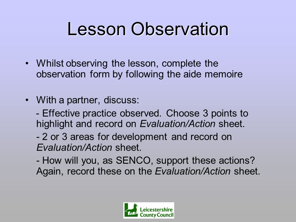 Lesson Observation Whilst observing the lesson, complete the observation form by following the aide memoire With a partner, discuss: - Effective pract