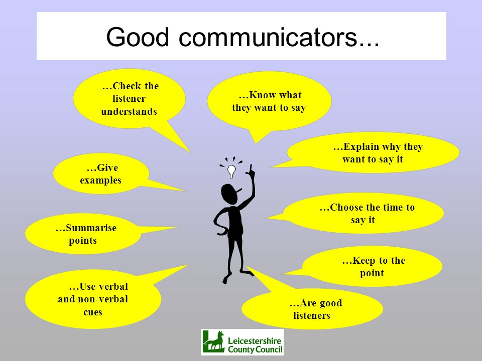 …Use verbal and non-verbal cues …Keep to the point …Explain why they want to say it …Are good listeners …Choose the time to say it …Give examples …Che