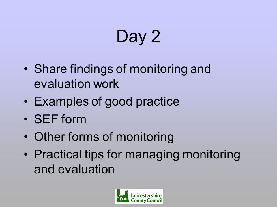 Day 2 Share findings of monitoring and evaluation work Examples of good practice SEF form Other forms of monitoring Practical tips for managing monito
