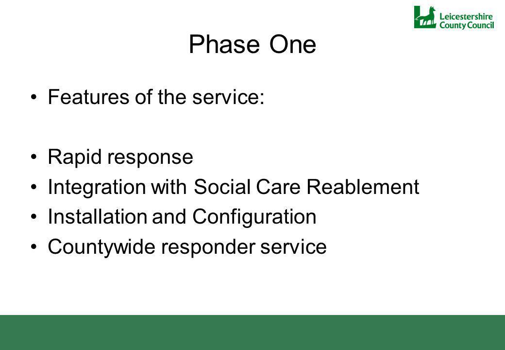 Phase One Features of the service: Rapid response Integration with Social Care Reablement Installation and Configuration Countywide responder service