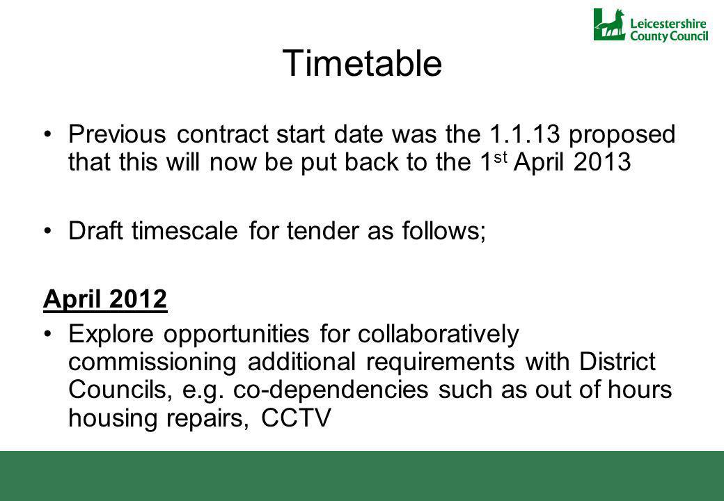 Timetable Previous contract start date was the 1.1.13 proposed that this will now be put back to the 1 st April 2013 Draft timescale for tender as follows; April 2012 Explore opportunities for collaboratively commissioning additional requirements with District Councils, e.g.