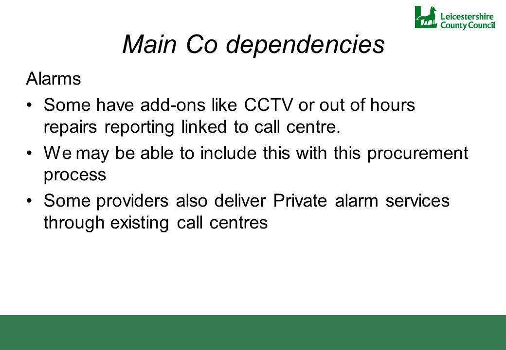 Main Co dependencies Alarms Some have add-ons like CCTV or out of hours repairs reporting linked to call centre. We may be able to include this with t