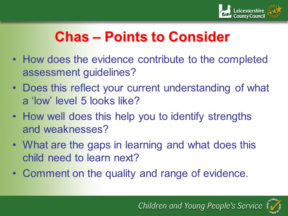 Chas – Points to Consider How does the evidence contribute to the completed assessment guidelines.