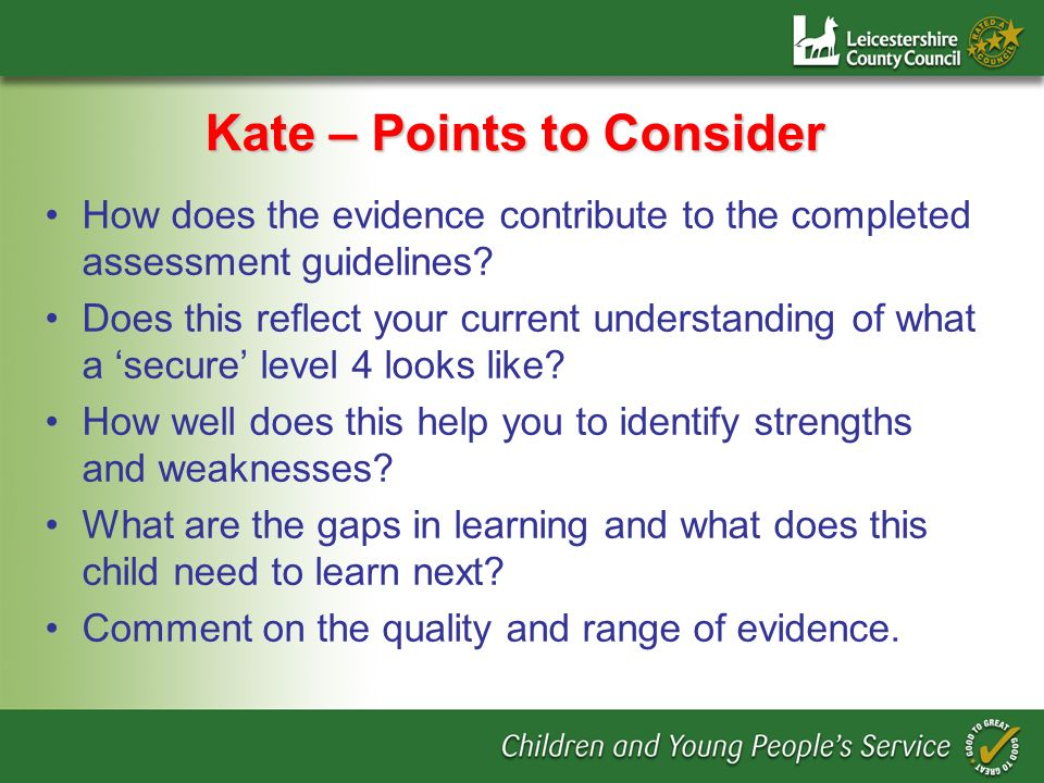 Kate – Points to Consider How does the evidence contribute to the completed assessment guidelines.