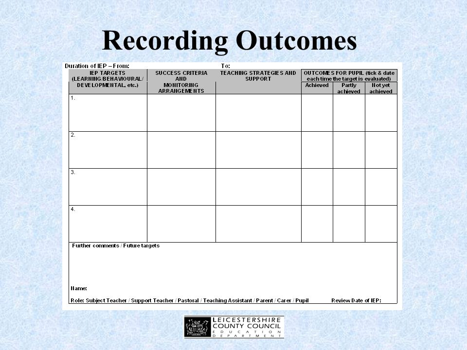 Monitoring and Recording Using the outcomes column on the IEP Using existing recording arrangements e.g.