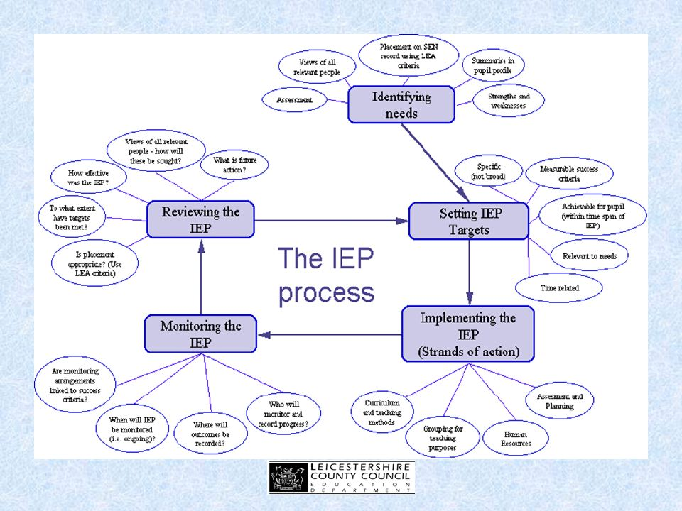 Monitoring and Reviewing Consider: Who carries out monitoring of IEP targets.
