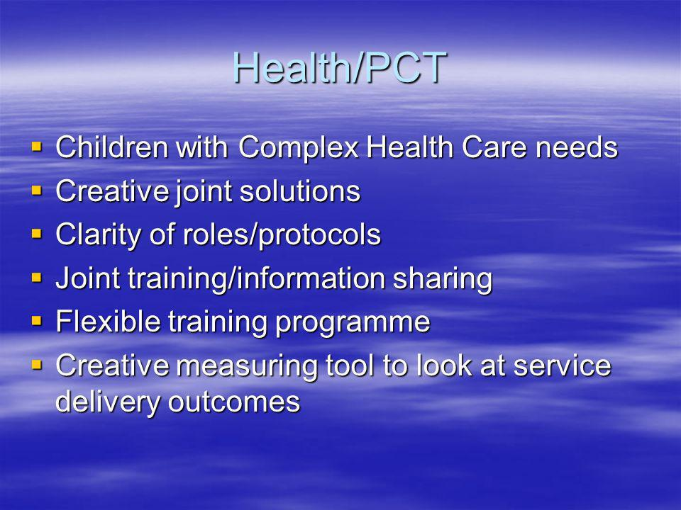 Health/PCT Children with Complex Health Care needs Children with Complex Health Care needs Creative joint solutions Creative joint solutions Clarity of roles/protocols Clarity of roles/protocols Joint training/information sharing Joint training/information sharing Flexible training programme Flexible training programme Creative measuring tool to look at service delivery outcomes Creative measuring tool to look at service delivery outcomes
