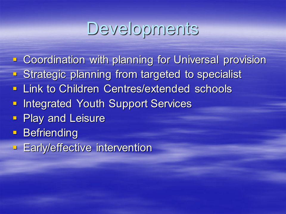 Developments Coordination with planning for Universal provision Coordination with planning for Universal provision Strategic planning from targeted to
