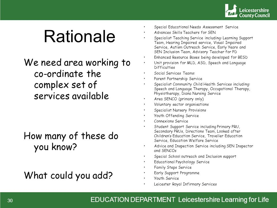 EDUCATION DEPARTMENT Leicestershire Learning for Life 30 Rationale We need area working to co-ordinate the complex set of services available How many