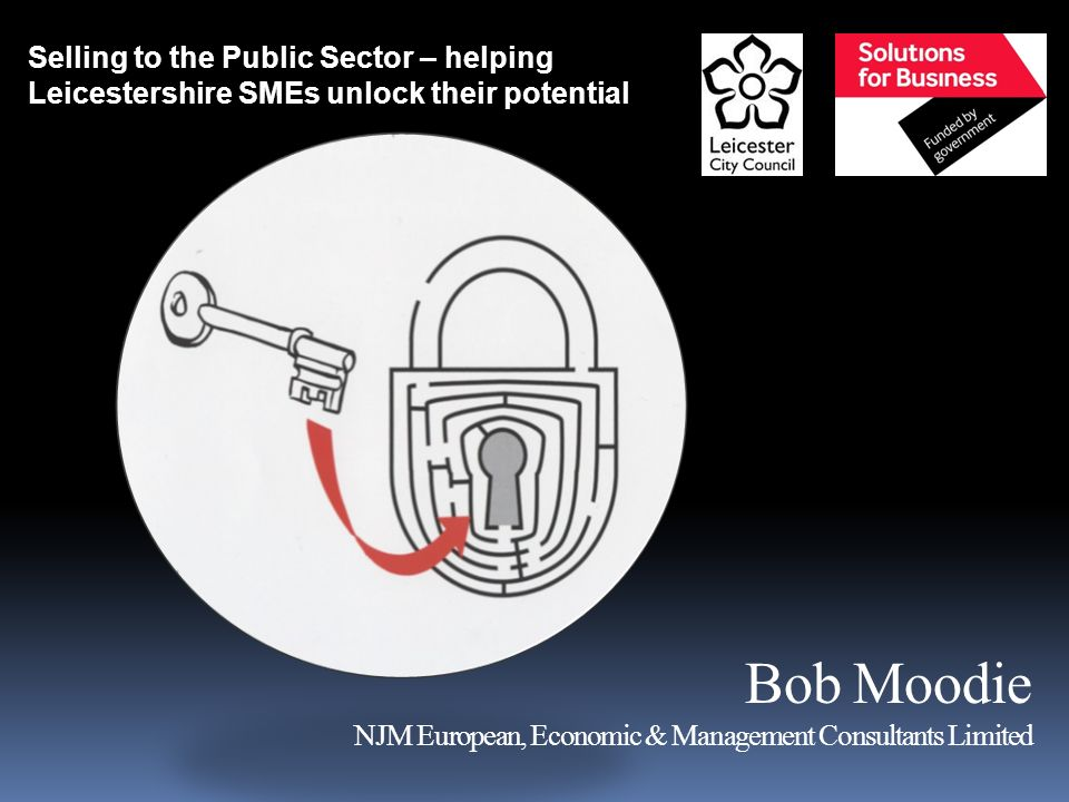 Bob Moodie NJM European, Economic & Management Consultants Limited Selling to the Public Sector – helping Leicestershire SMEs unlock their potential
