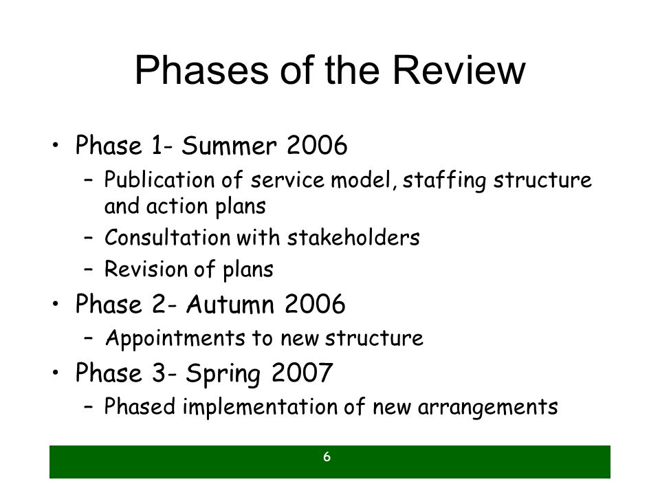 6 Phases of the Review Phase 1- Summer 2006 –Publication of service model, staffing structure and action plans –Consultation with stakeholders –Revision of plans Phase 2- Autumn 2006 –Appointments to new structure Phase 3- Spring 2007 –Phased implementation of new arrangements