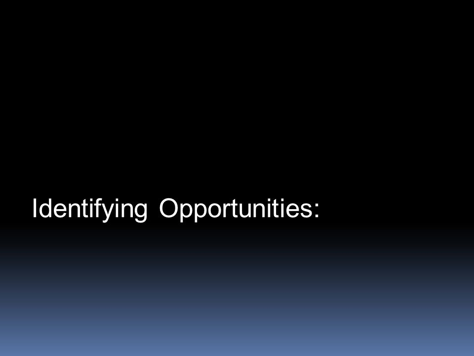 Identifying Opportunities: