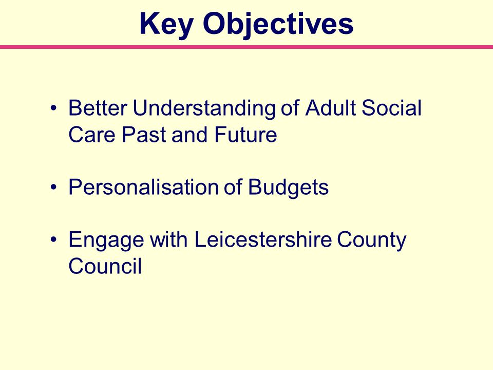 Key Objectives Better Understanding of Adult Social Care Past and Future Personalisation of Budgets Engage with Leicestershire County Council