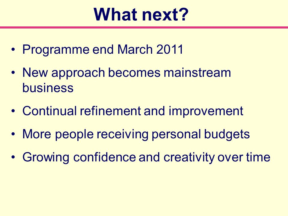 Programme end March 2011 New approach becomes mainstream business Continual refinement and improvement More people receiving personal budgets Growing confidence and creativity over time What next