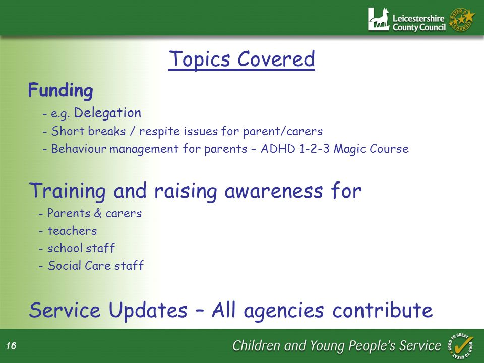 16 Topics Covered Funding - e.g.