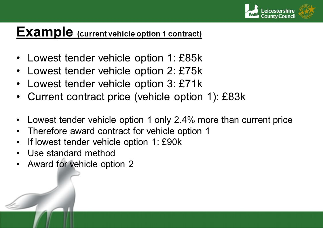 Example (current vehicle option 1 contract) Lowest tender vehicle option 1: £85k Lowest tender vehicle option 2: £75k Lowest tender vehicle option 3: £71k Current contract price (vehicle option 1): £83k Lowest tender vehicle option 1 only 2.4% more than current price Therefore award contract for vehicle option 1 If lowest tender vehicle option 1: £90k Use standard method Award for vehicle option 2