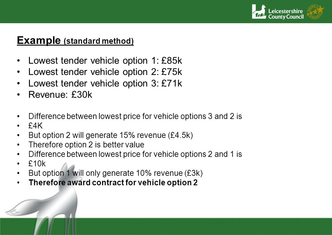 Example (standard method) Lowest tender vehicle option 1: £85k Lowest tender vehicle option 2: £75k Lowest tender vehicle option 3: £71k Revenue: £30k