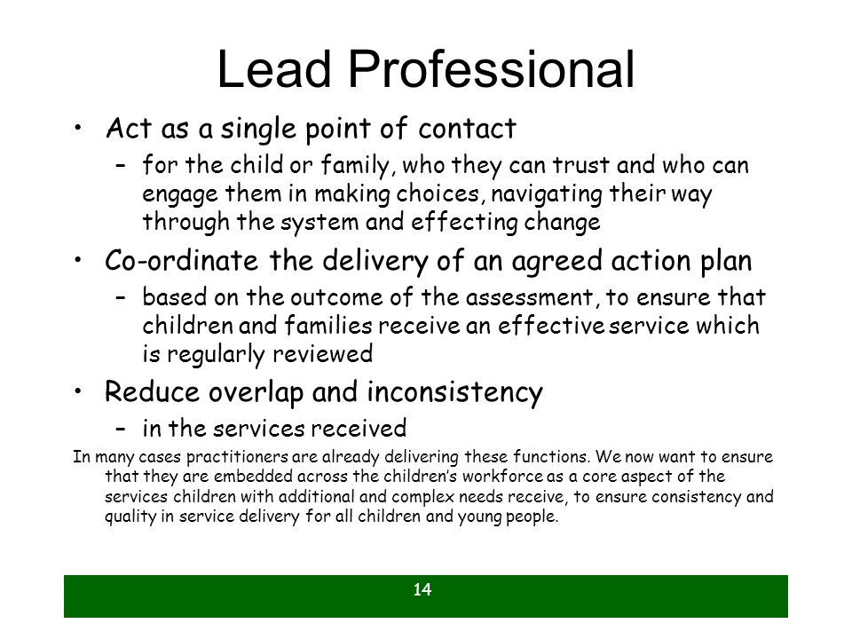 14 Lead Professional Act as a single point of contact –for the child or family, who they can trust and who can engage them in making choices, navigati