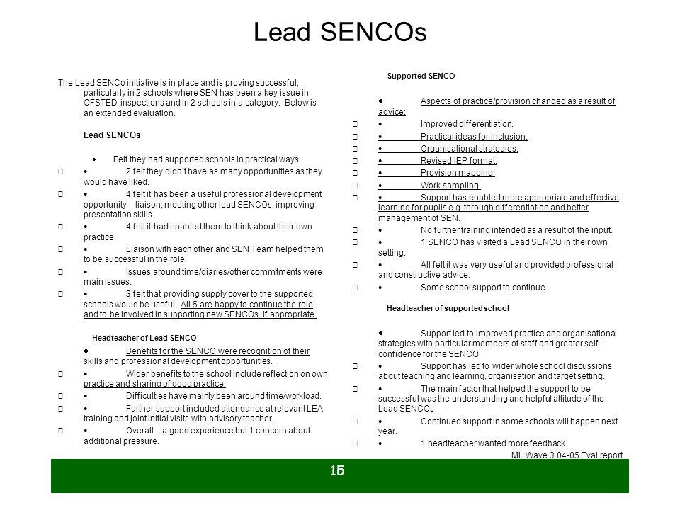 15 Lead SENCOs The Lead SENCo initiative is in place and is proving successful, particularly in 2 schools where SEN has been a key issue in OFSTED ins