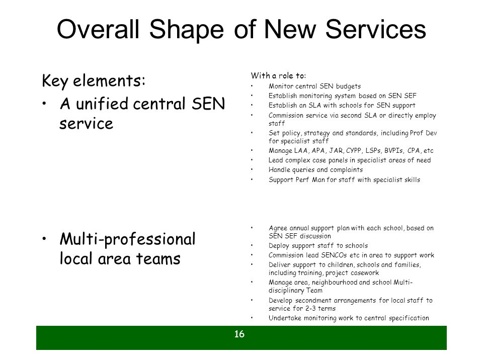 16 Overall Shape of New Services Key elements: A unified central SEN service Multi-professional local area teams With a role to: Monitor central SEN b