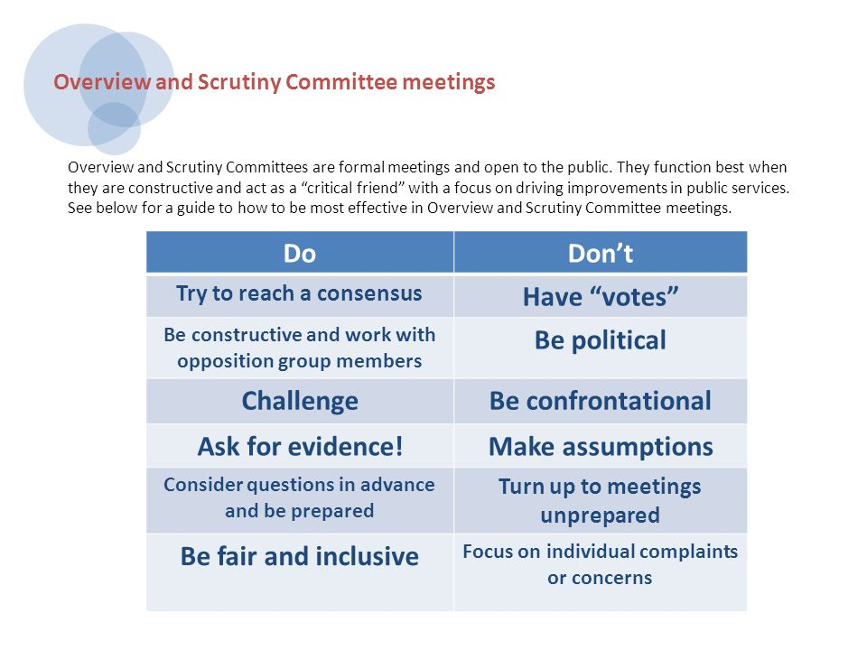 DoDont Try to reach a consensus Have votes Be constructive and work with opposition group members Be political ChallengeBe confrontational Ask for evidence!Make assumptions Consider questions in advance and be prepared Turn up to meetings unprepared Be fair and inclusive Focus on individual complaints or concerns Overview and Scrutiny Committee meetings Overview and Scrutiny Committees are formal meetings and open to the public.