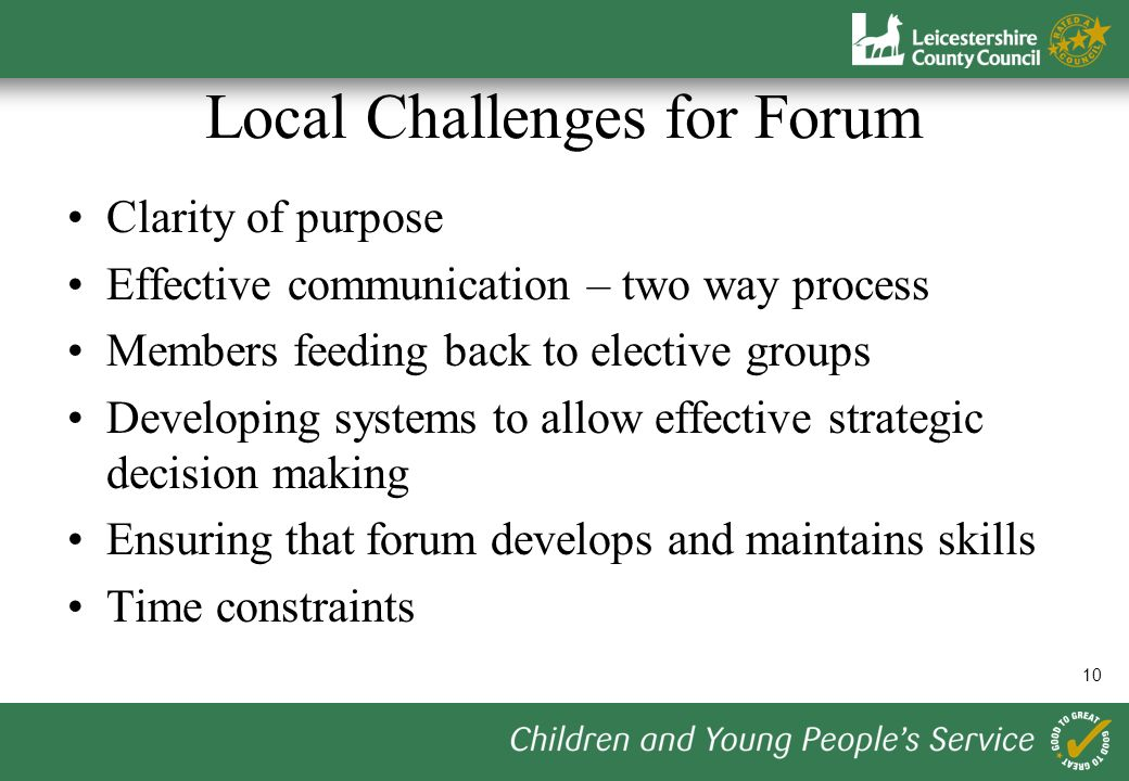 10 Local Challenges for Forum Clarity of purpose Effective communication – two way process Members feeding back to elective groups Developing systems to allow effective strategic decision making Ensuring that forum develops and maintains skills Time constraints