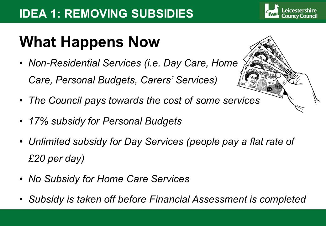 IDEA 1: REMOVING SUBSIDIES What Happens Now Non-Residential Services (i.e. Day Care, Home Care, Personal Budgets, Carers Services) The Council pays to