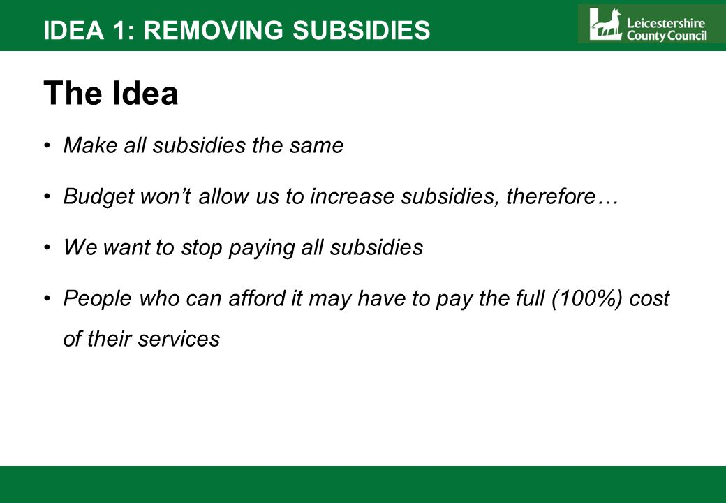 IDEA 1: REMOVING SUBSIDIES The Idea Make all subsidies the same Budget wont allow us to increase subsidies, therefore… We want to stop paying all subs