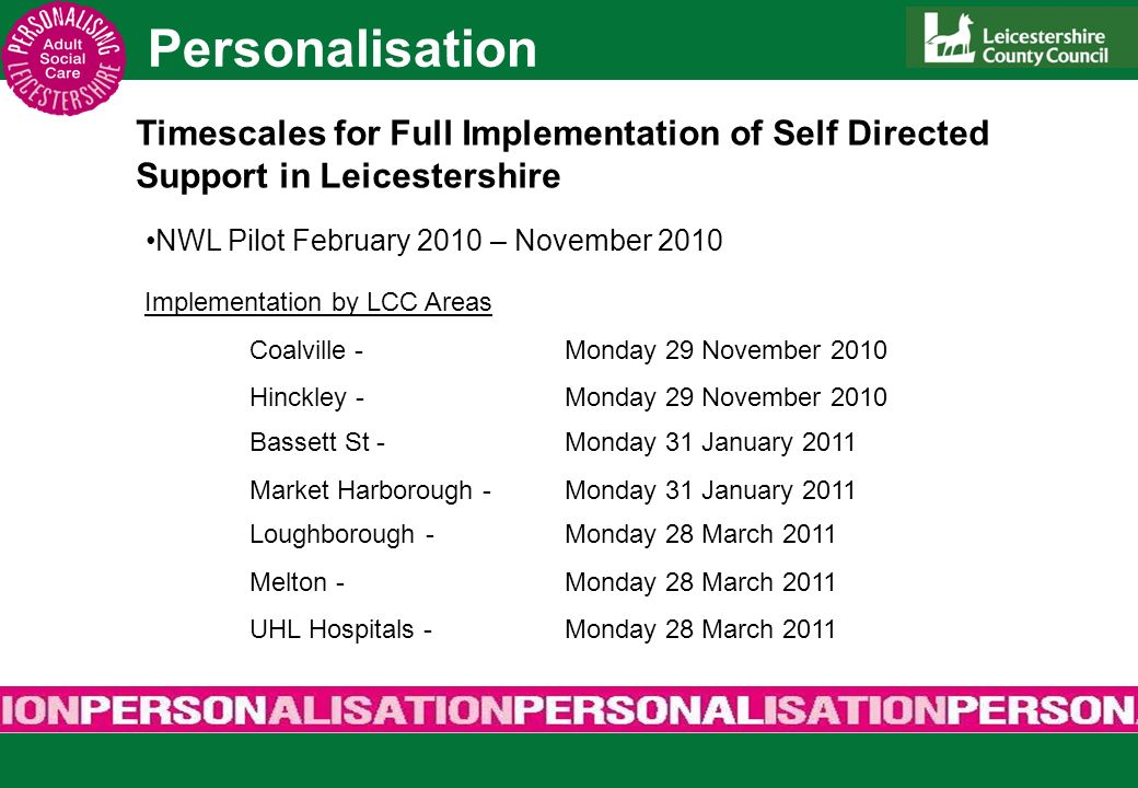 Personalisation Timescales for Full Implementation of Self Directed Support in Leicestershire NWL Pilot February 2010 – November 2010 Implementation b