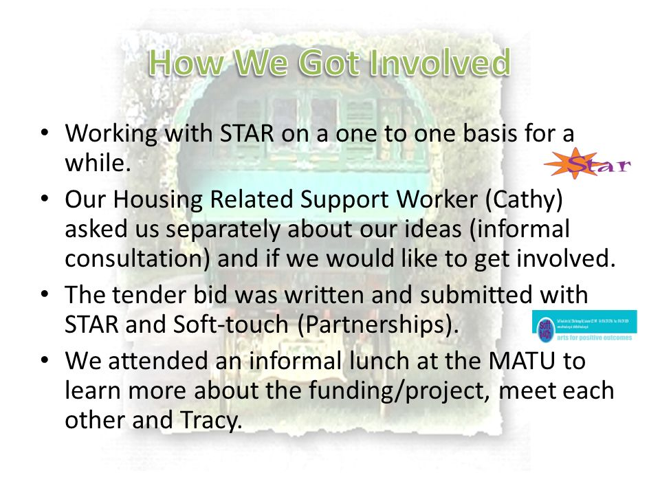Working with STAR on a one to one basis for a while. Our Housing Related Support Worker (Cathy) asked us separately about our ideas (informal consulta