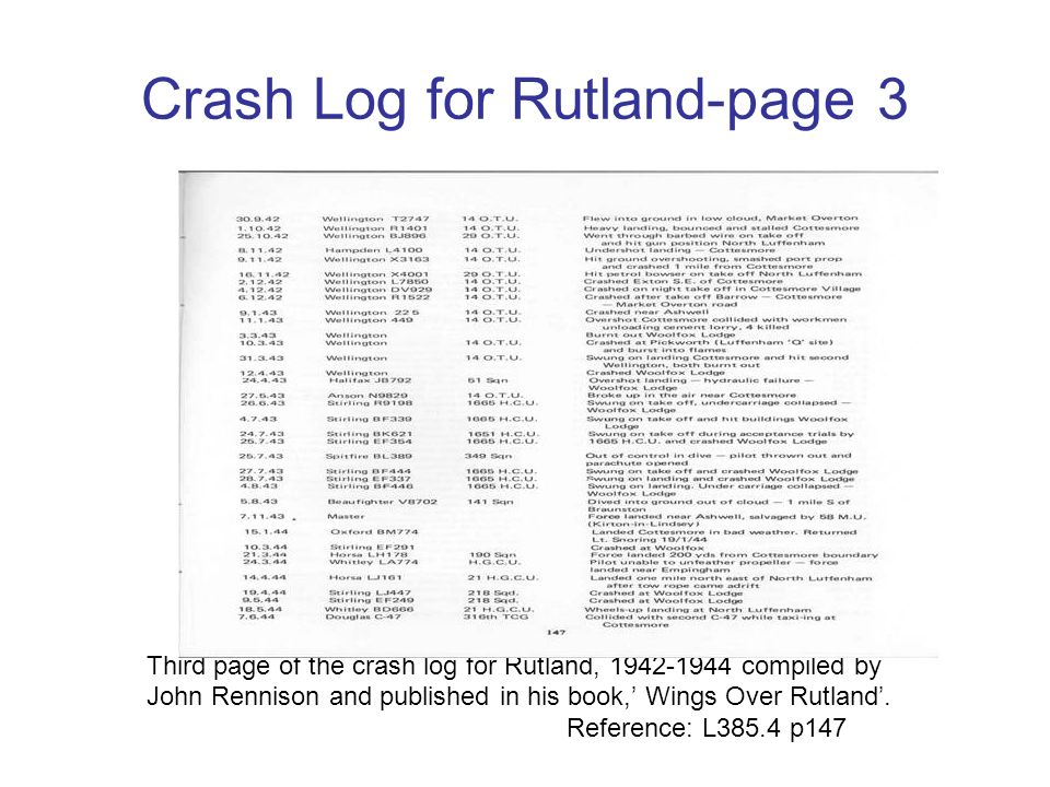 Crash Log for Rutland-page 2 Second page of the crash log for Rutland, 1941-1942 compiled by John Rennison and published in his book, Wings Over Rutla