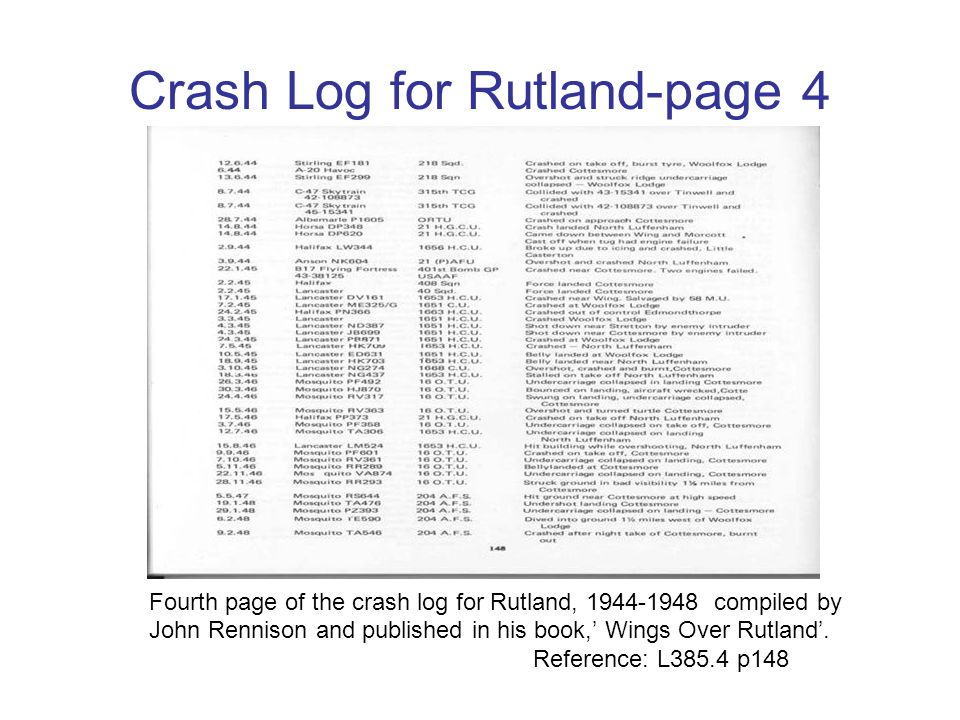 Crash Log for Rutland-page 3 Third page of the crash log for Rutland, 1942-1944 compiled by John Rennison and published in his book, Wings Over Rutlan