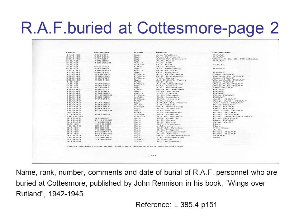 R.A.F.buried at Cottesmore-page 1 Name, rank, number, comments and date of burial of R.A.F. personnel who are buried at Cottesmore, published by John