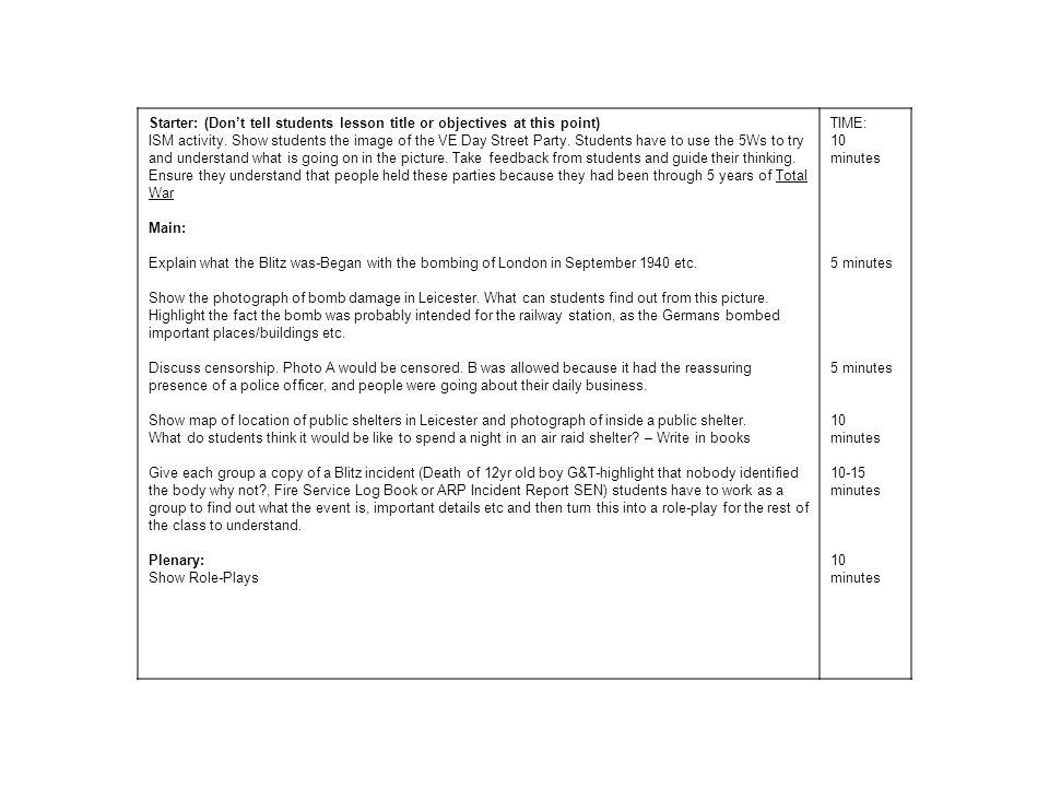 Abington High School KS3 History Evacuation Lesson plan