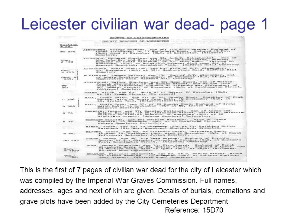 Civilian deaths recorded at Crumbie Stand Mortuary- sheet 2 Civilian deaths recorded at another city mortuary- Crumbie Stand as a result of bombing ac