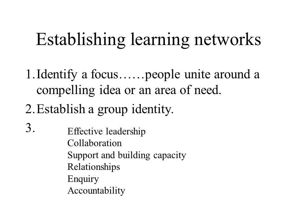 Establishing learning networks 1.Identify a focus……people unite around a compelling idea or an area of need.