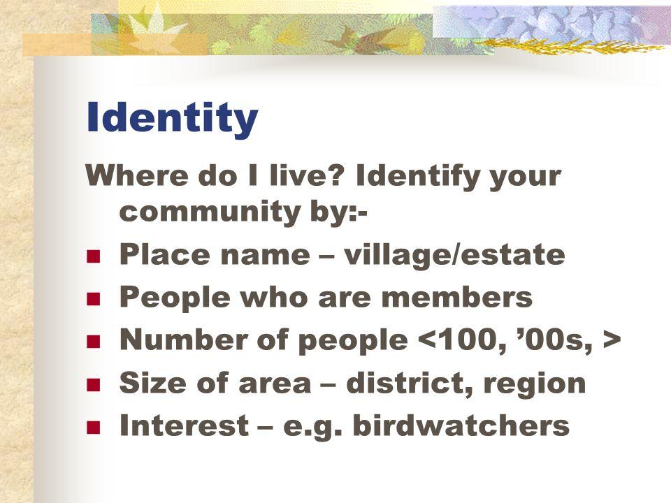 Identity Where do I live.