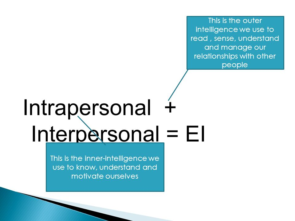 Intrapersonal + Interpersonal = EI This is the outer intelligence we use to read, sense, understand and manage our relationships with other people This is the inner-intelligence we use to know, understand and motivate ourselves