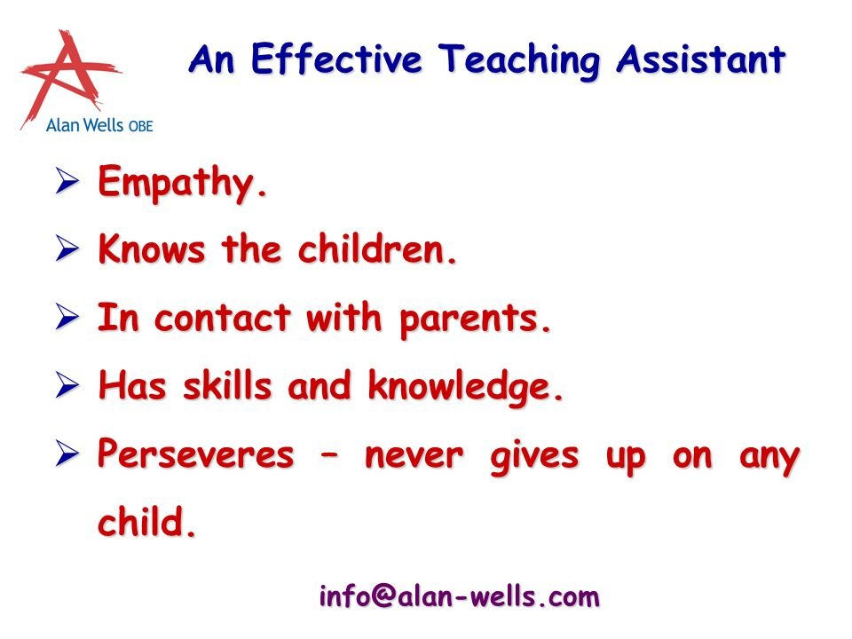 info@alan-wells.com An Effective Teaching Assistant Empathy.