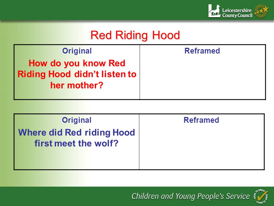 Red Riding Hood Original How do you know Red Riding Hood didnt listen to her mother.