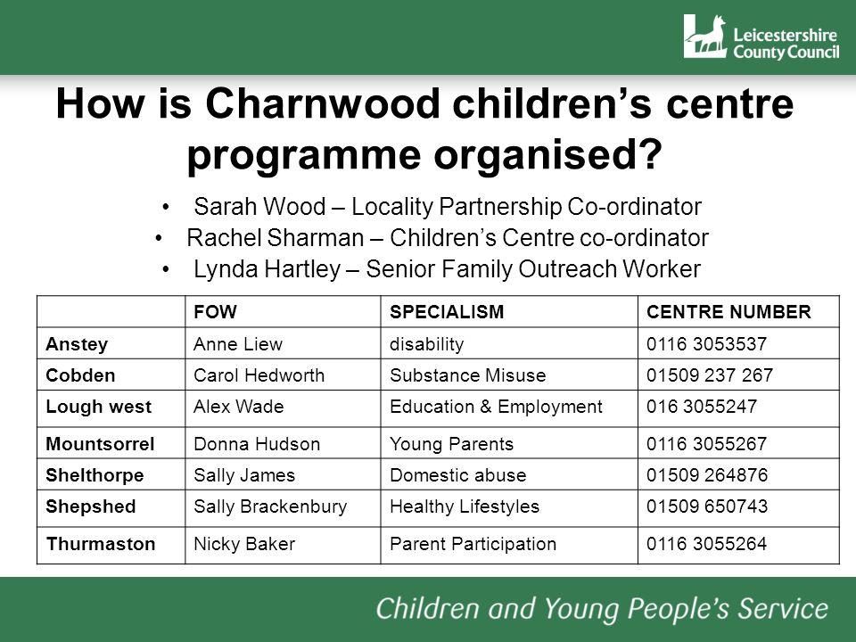 How is Charnwood childrens centre programme organised? FOWSPECIALISMCENTRE NUMBER AnsteyAnne Liewdisability0116 3053537 CobdenCarol HedworthSubstance