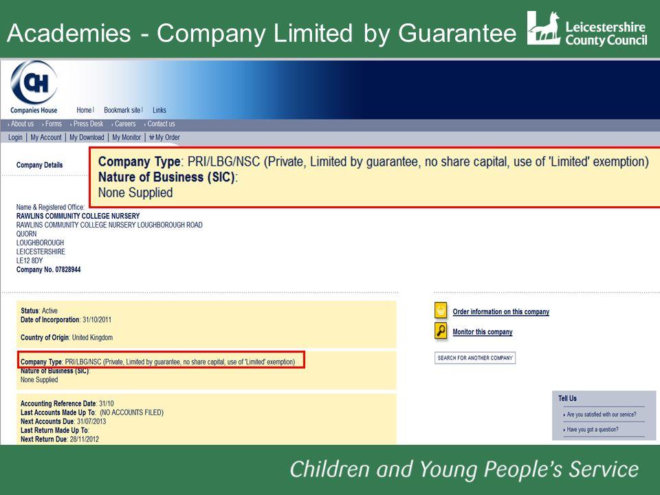 Academies- Company Limited by Guarantee