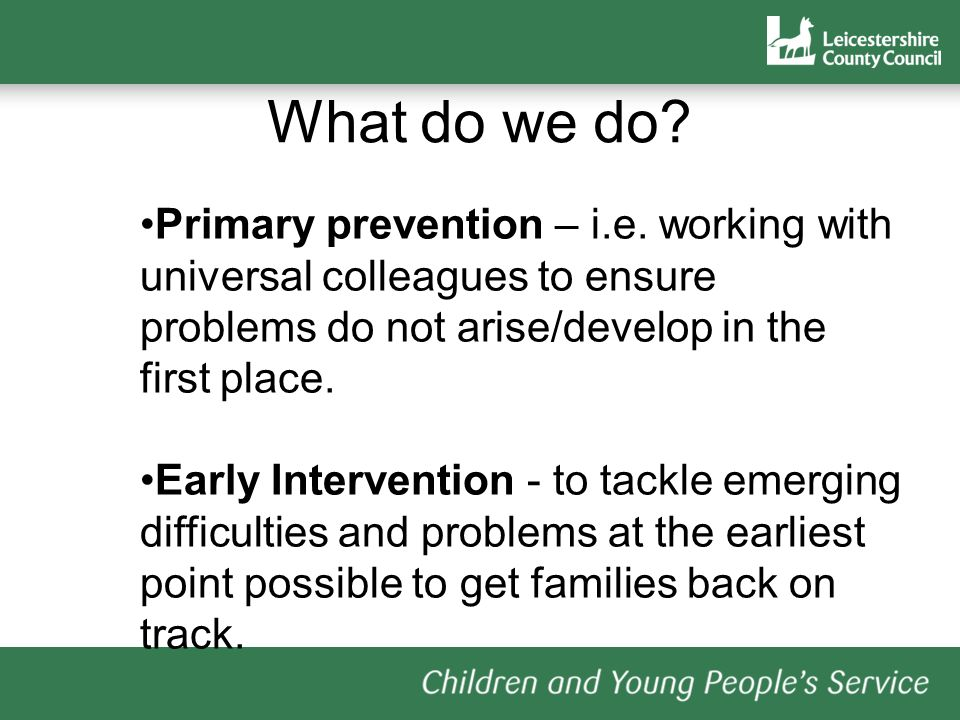 What do we do. Primary prevention – i.e.